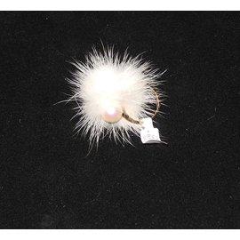 Autre Marque-Misaki bague modèle Cheek vermeil, perle et vison neuve étiquette-Blanc