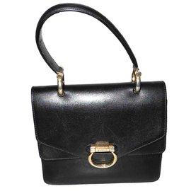 Céline-black vintage leather bag-Black