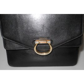 Céline-sac en cuir noir vintage-Noir