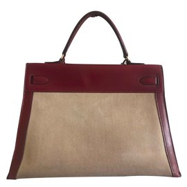 Hermès-Kelly 35-Beige,Dark red
