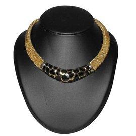 Christian Dior-collier ras du cou en métal doré émaillé façon panthère-Noir,Doré