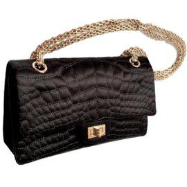 Chanel-Black Croc-embossed satin 2.55 reissue bag.-Black