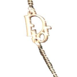 Dior-Collier pendentif-Argenté,Blanc cassé