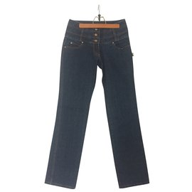 Jean Paul Gaultier-high waisted jeans-Navy blue ... 86a15b7b2a9e