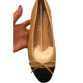 Chanel-Ballerina Bicolore-Black,Beige