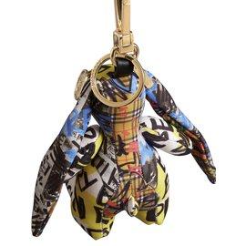 Burberry-Bijou porte-clés en coton à imprimé graffiti Vera le Lièvre-Multicolore