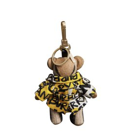 Burberry-Keychain Thomas Bear with trench coat in 100% cashmere graffiti print-Multiple colors