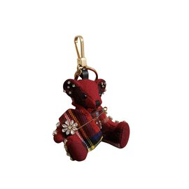Burberry-Key ring Thomas Bear with 100% cashmere kilt pin-Red