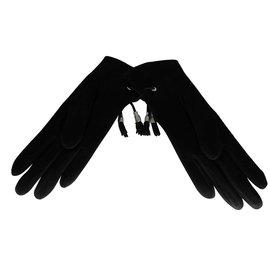 Hermès-Gants-Noir,Argenté