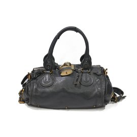 Chloé-Chloe padington gray leather bag-Dark grey