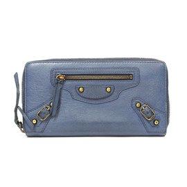 Balenciaga-Portefeuille balenciaga en cuir-Bleu