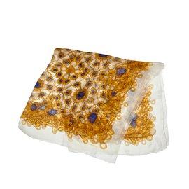 Chanel-Foulard en soie imprimée-Multicolore,Jaune