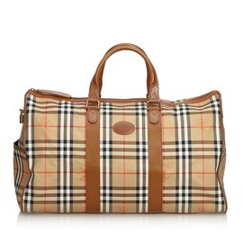 Burberry-Haymarket Check Jacquard Travel Bag-Brown,Multiple colors,Beige