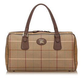 Burberry-Plaid Cotton Duffel Bag-Brown,Multiple colors,Khaki