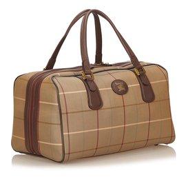 Burberry-Plaid Cotton Duffel Bag-Brown,Multiple colors,Khaki