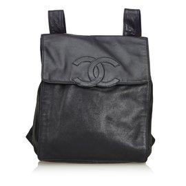 Chanel-Sac à dos en cuir d'agneau-Noir