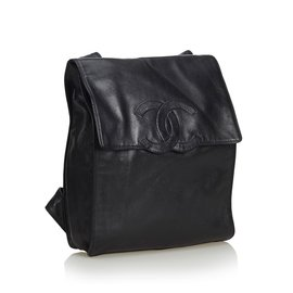 Chanel-Lambskin Leather Backpack-Black