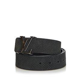 Louis Vuitton-Suede Initiales Belt-Noir