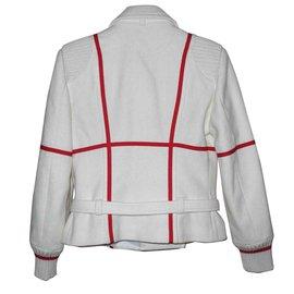 """Jc De Castelbajac-JC de Castelbajac tailleur jupe en laine """"Keith Haring"""" superbe-Rouge,Blanc cassé"""