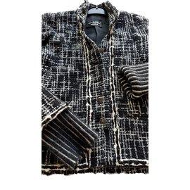 Chanel-Veste en tweed moir/blanc Chanel..-Noir,Blanc