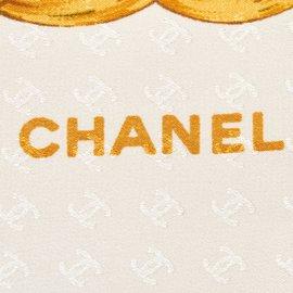 Chanel-Foulard en soie imprimée-Blanc,Rouge,Écru