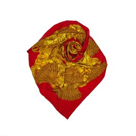 Chanel-Printed Silk Scarf-Red,Golden