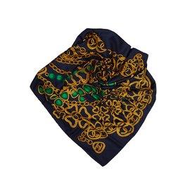 Chanel-Foulard en soie imprimé chaîne-Bleu,Multicolore,Bleu Marine