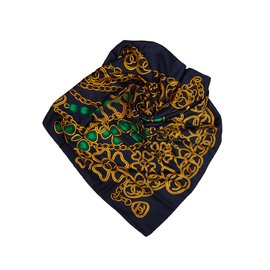 Chanel-Chain Print Silk Scarf-Blue,Multiple colors,Navy blue