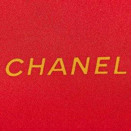 Chanel-Foulard en soie imprimée-Rouge,Multicolore