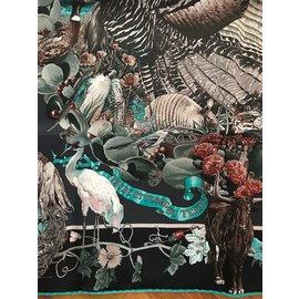 Hermès-Carré Hermès 70 cm en Soie Vintage Faune et Flore du Texas-Multicolore