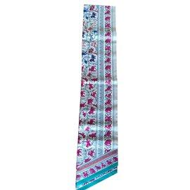 Hermès-Maxi Twilly Hermès Chasse en Inde-Multicolore