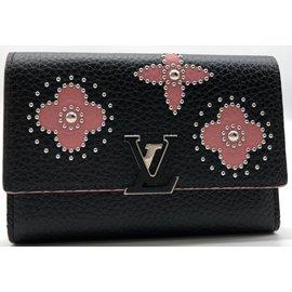 Louis Vuitton-Portefeuille Louis Vuitton Capucines compact en cuir taurillon noir et à motifs de fleurs roses, état neuf !-Noir,Rose