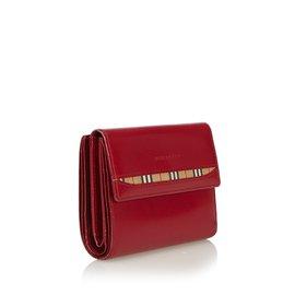 Burberry-Portefeuille en cuir à deux volets-Rouge