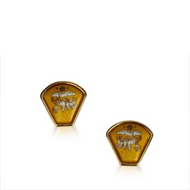 Hermès-Horse Clip On Earrings-Multiple colors,Golden