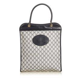 Gucci-Sac cabas en toile enduite GG-Noir,Gris