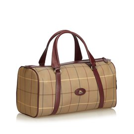 Burberry-Plaid Jacquard Travel Bag-Brown,Multiple colors,Beige