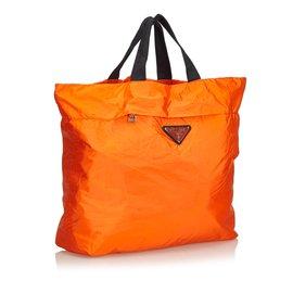Prada-Sac cabas en nylon-Noir,Orange