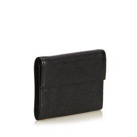 Fendi-Petit portefeuille en cuir à trois volets-Noir