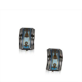 Hermès-Clip en métal sur les boucles d'oreilles-Argenté,Multicolore