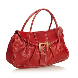 Céline-Sac à main en cuir-Rouge