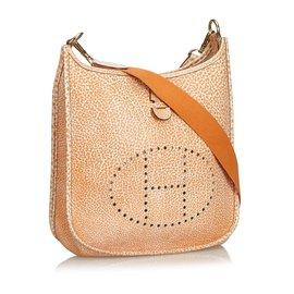 Hermès-Buffle dalmatien Evelyne II PM-Blanc,Orange