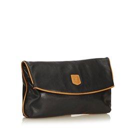 Céline-Leather Clutch Bag-Brown,Black