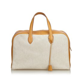 Hermès-Toile Victoria 43-Marron,Blanc,Beige