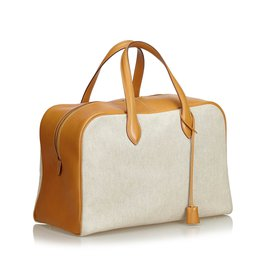 Hermès-Victoria Canvas 43-Brown,White,Beige