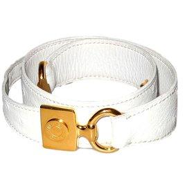 Hermès-ceinture en cuir blanc cassé façon autruche-Blanc cassé