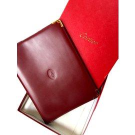 Cartier-Purses, wallets, cases-Golden,Dark red