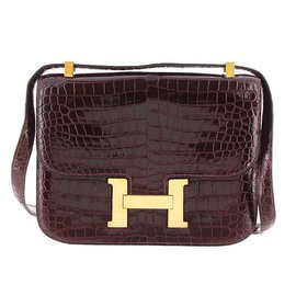 Hermès-Crocodile Leather Constance 23-Red,Dark red