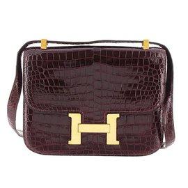 Hermès-Constance En Cuir De Crocodile 23-Rouge,Bordeaux