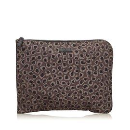 Gucci-Pochette en nylon à imprimé léopard-Marron,Noir