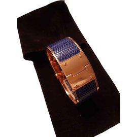 Hermès-charnière lézard-Bleu